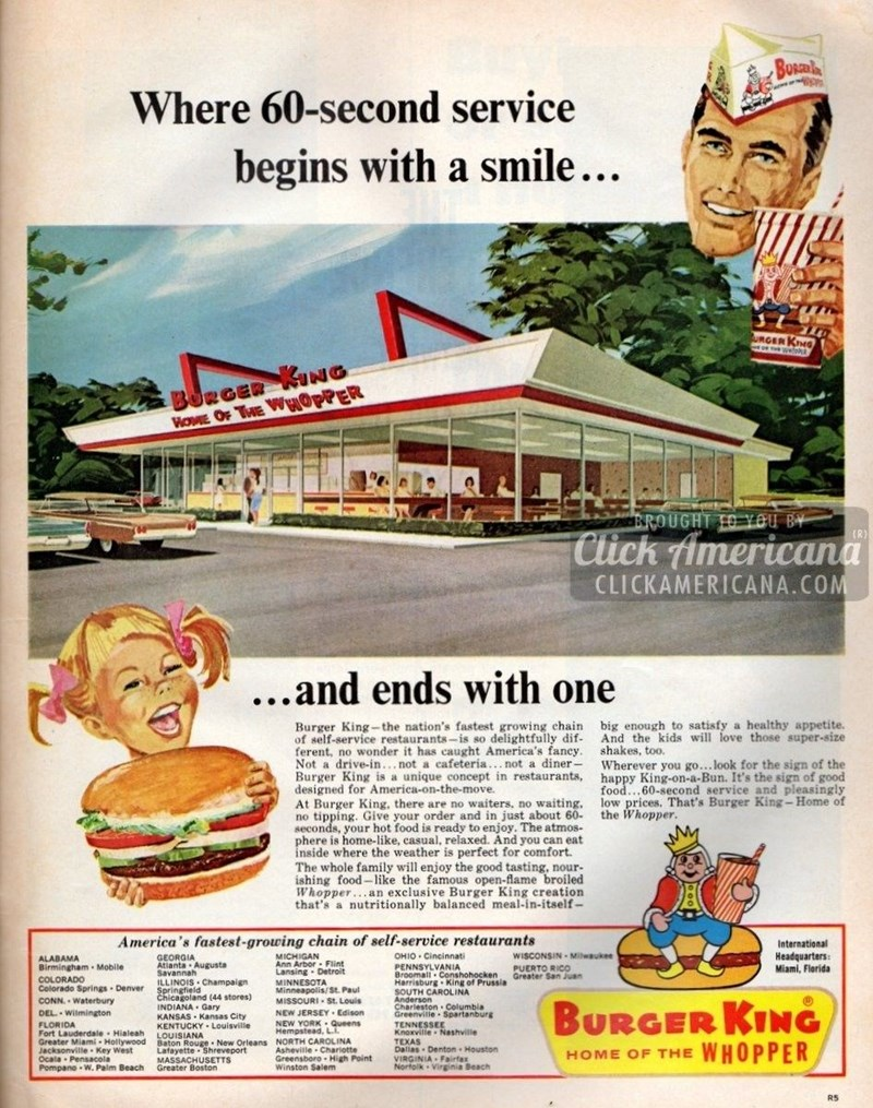vintage advertisement - Vintage advertisement - Busah Where 60-second service begins with a smile... S URGER KNG BORGER ING WOME OF THE WHOPPER BROUGHT T0 YOU BY Click Americana CLICKAMERICANA.COM (R) ...and ends with one