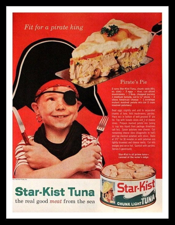 vintage advertisement - Vintage advertisement - Fit for a pirate king Pirate's Pie 2 cans Star-Kist Tuna