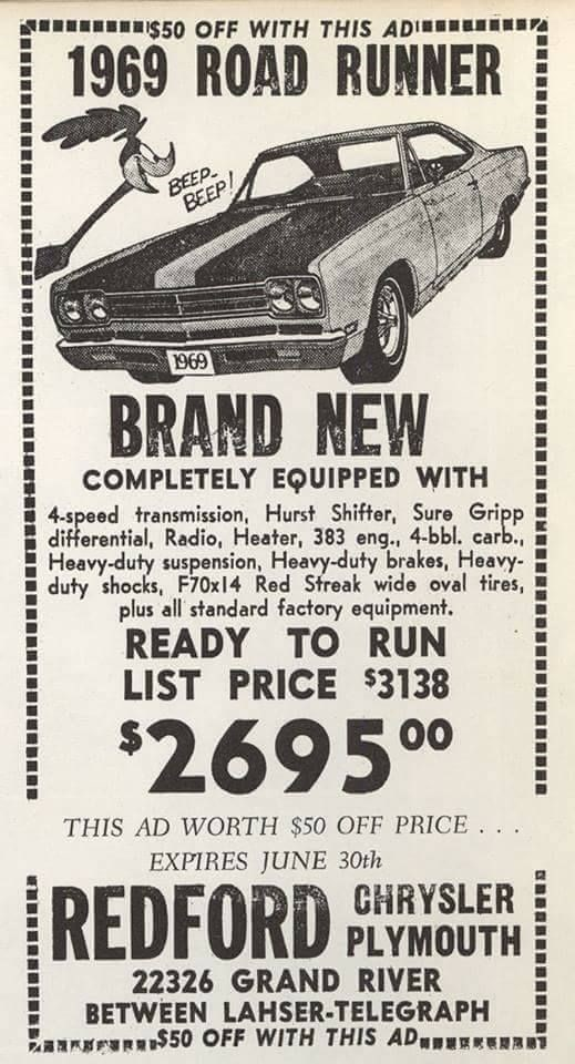 vintage advertisement - Land vehicle - A S5o OFF WITH THIS ADI r 1969 ROAD RUNNER BEEP BEEP 6960 BRAND NEW COMPLETELY EQUIPPED WITH 4-speed transmission