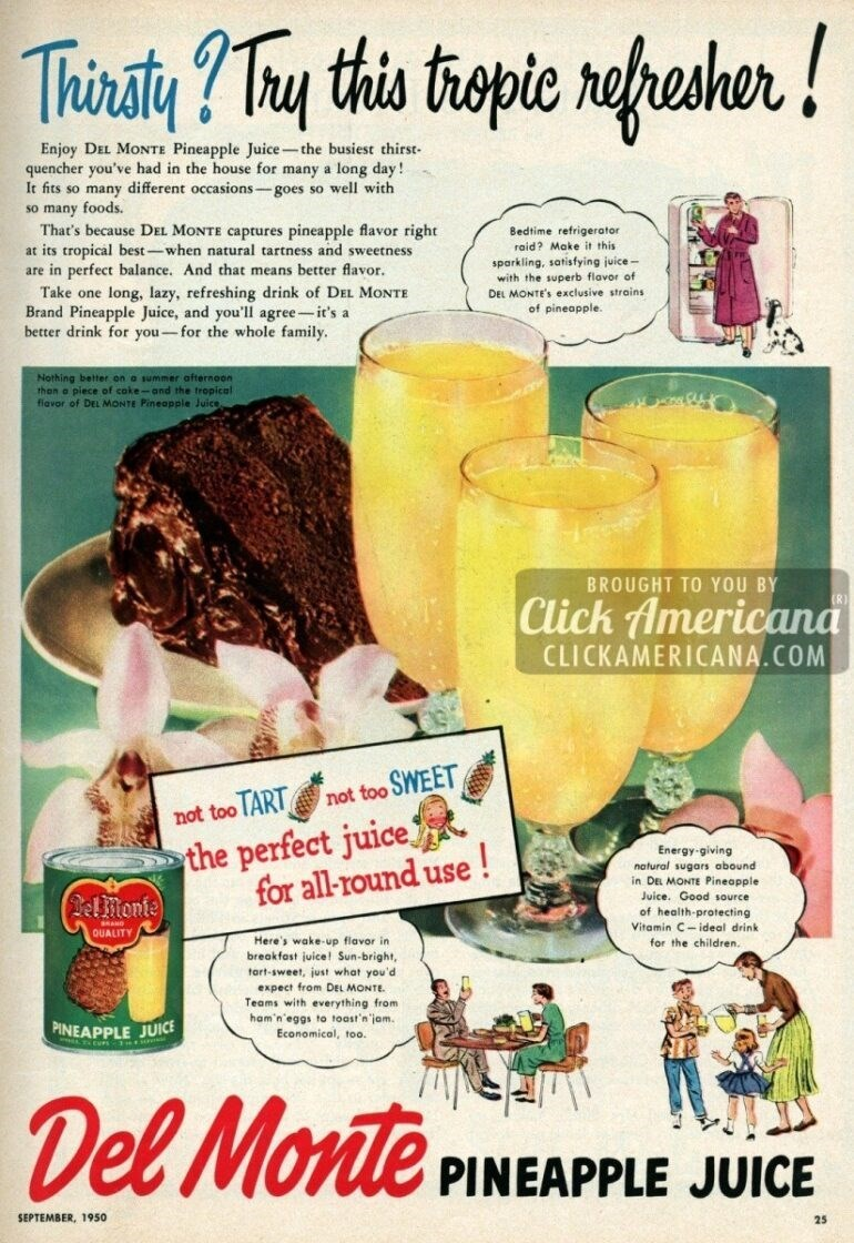 vintage advertisement - Food - thepie neheher! Trinaty Thy this Enjoy DEL MONTE Pineapple Juice-the busiest thirst- quencher you've had in the house