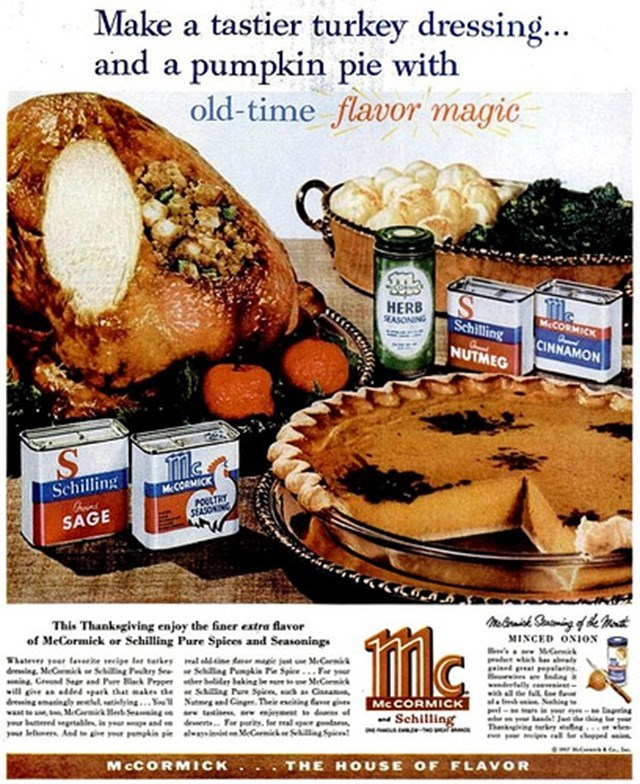 vintage advertisement - Food - Make a tastier turkey dressing... and a pumpkin pie with old-time flavor magic