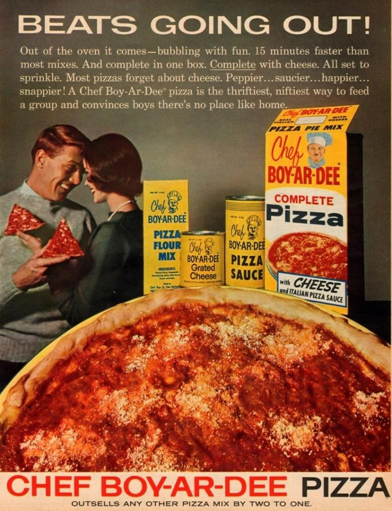 vintage advertisement - Cuisine - BEATS GOING OUT! Out of the oven it comes-bubbling with fun CHEF BOY-AR-DEE PIZZA OUTSELLS ANY OTHER PIZZA MIX BY TWO TO ONE