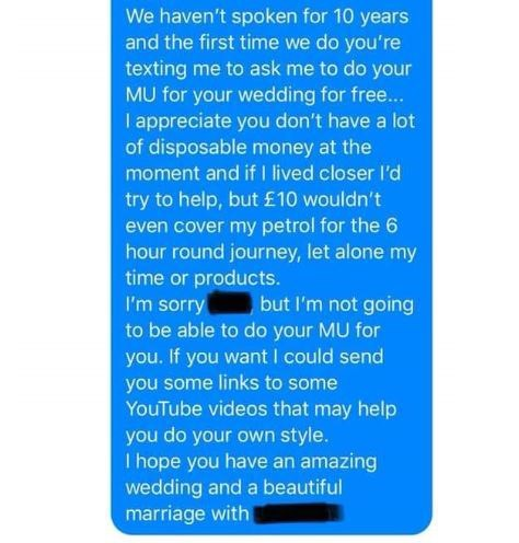 Funny story about entitled bride who wants her hair and makeup done for free