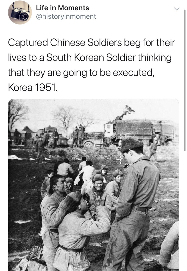 Text - Life in Moments @historyinmoment Captured Chinese Soldiers beg for their lives to a South Korean Soldier thinking that they are going to be executed, Korea 1951.
