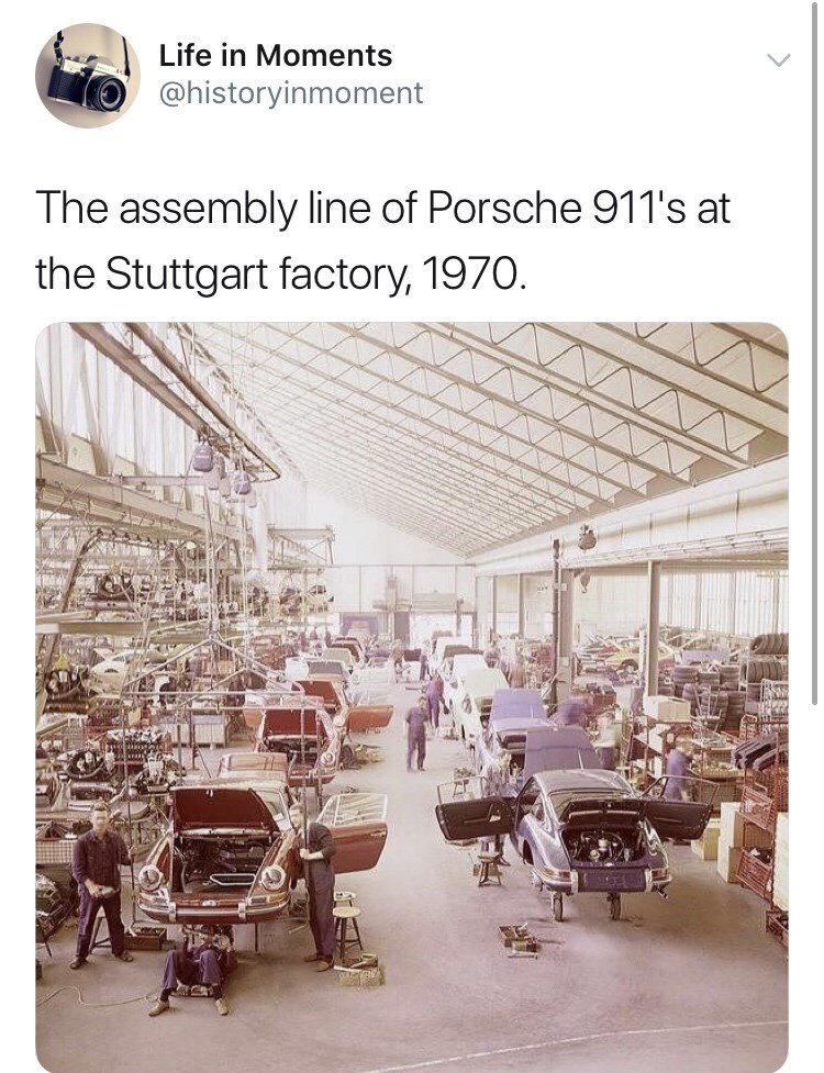 Product - Life in Moments @historyinmoment The assembly line of Porsche 911's at the Stuttgart factory, 1970.