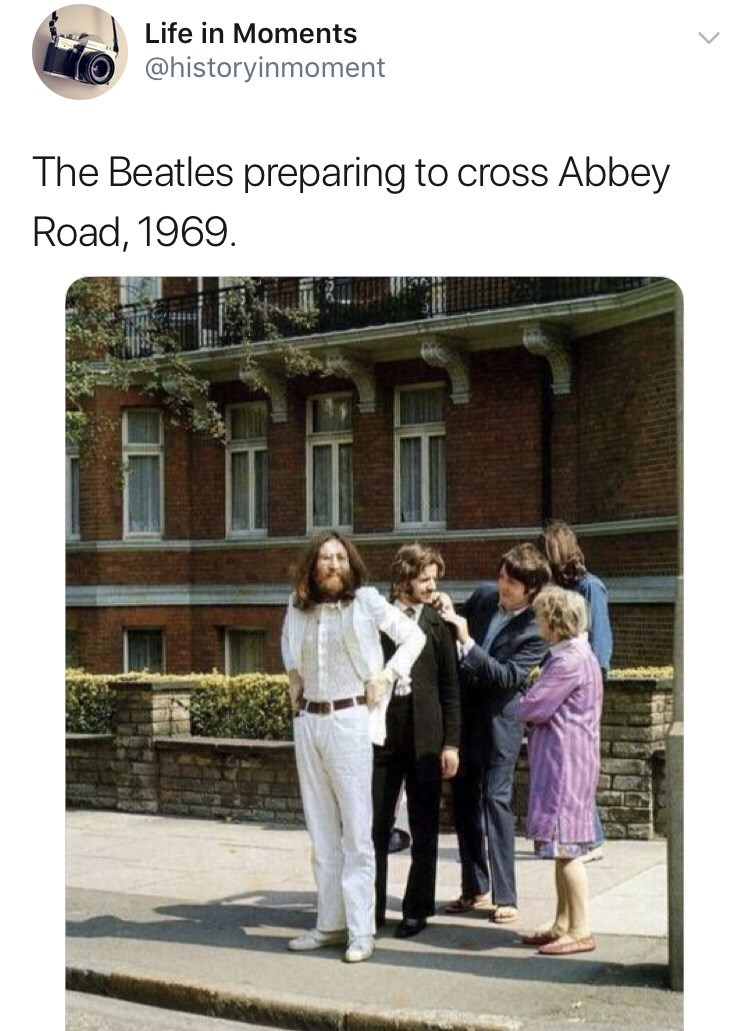 Photograph - Life in Moments @historyinmoment The Beatles preparing to cross Abbey Road, 1969