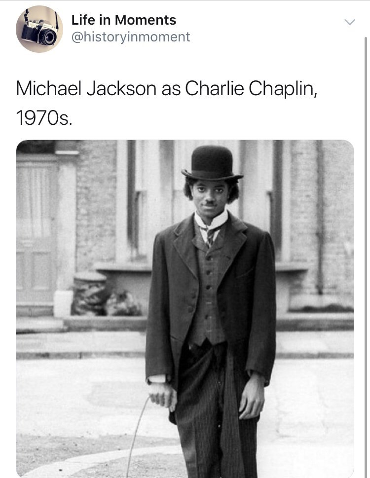 Photograph - Life in Moments @historyinmoment Michael Jackson as Charlie Chaplin, 1970s.