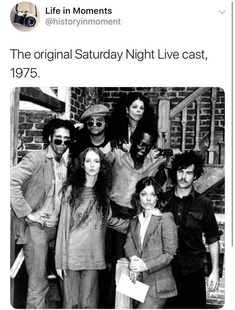 Text - Life in Moments @historyinmoment The original Saturday Night Live cast, 1975.