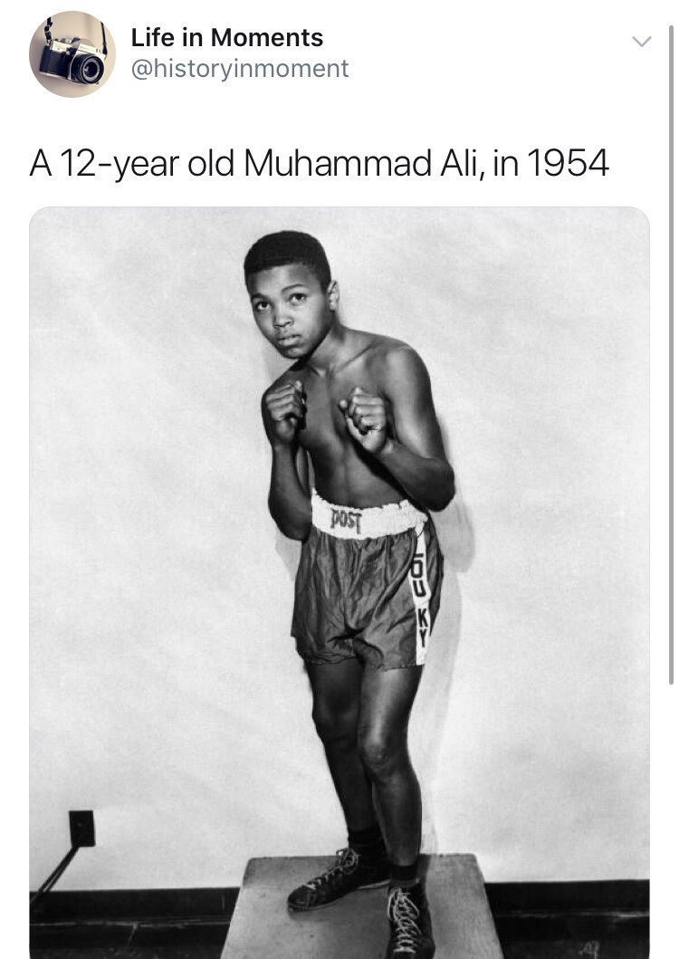 Poster - Life in Moments @historyinmoment A 12-year old Muhammad Ali, in 1954 poST
