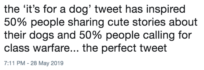 Text - the 'it's for a dog' tweet has inspired 50% people sharing cute stories about their dogs and 50% people calling for class warfare.... the perfect tweet 7:11 PM - 28 May 2019
