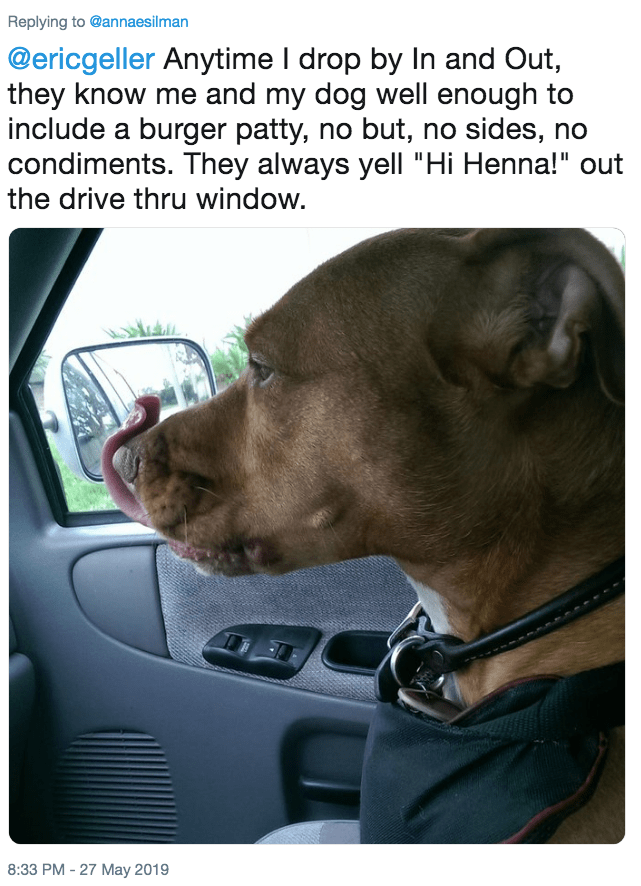 """Canidae - Replying to @annaesilman @ericgeller Anytime I drop by In and Out, they know me and my dog well enough to include a burger patty, no but, no sides, no condiments. They always yell """"Hi Henna!"""" out the drive thru window. 8:33 PM -27 May 2019"""
