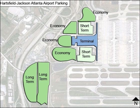 a grey map marked with green and blue sections to show where the parking lots are at atlanta airport