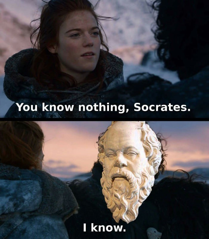 meme - Movie - You know nothing, Socrates. I know.