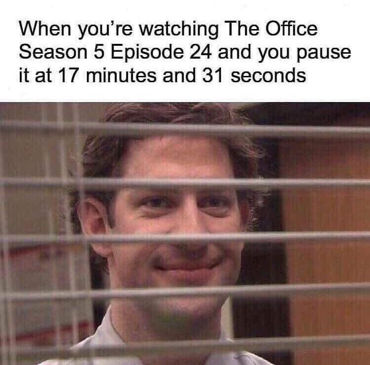 meme - Face - When you're watching The Office Season 5 Episode 24 and you pause it at 17 minutes and 31 seconds