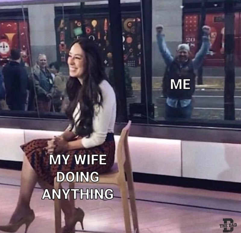 Relationship meme of a man getting really excited about a guest on a tv show.