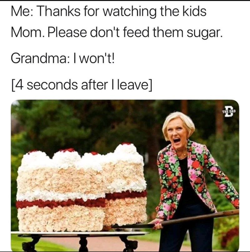 """Caption that reads, """"Me: Thanks for watching the kids Mom. Please don't feed them sugar; Grandma: I won't! [4 seconds after I leave]"""" above a photo of an old lady with a giant cake"""