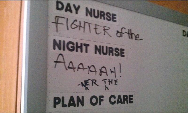 Text - DAY NURSE FIGHTER the DE NIGHT NURSE AAAAAH ER THE PLAN OF CARE