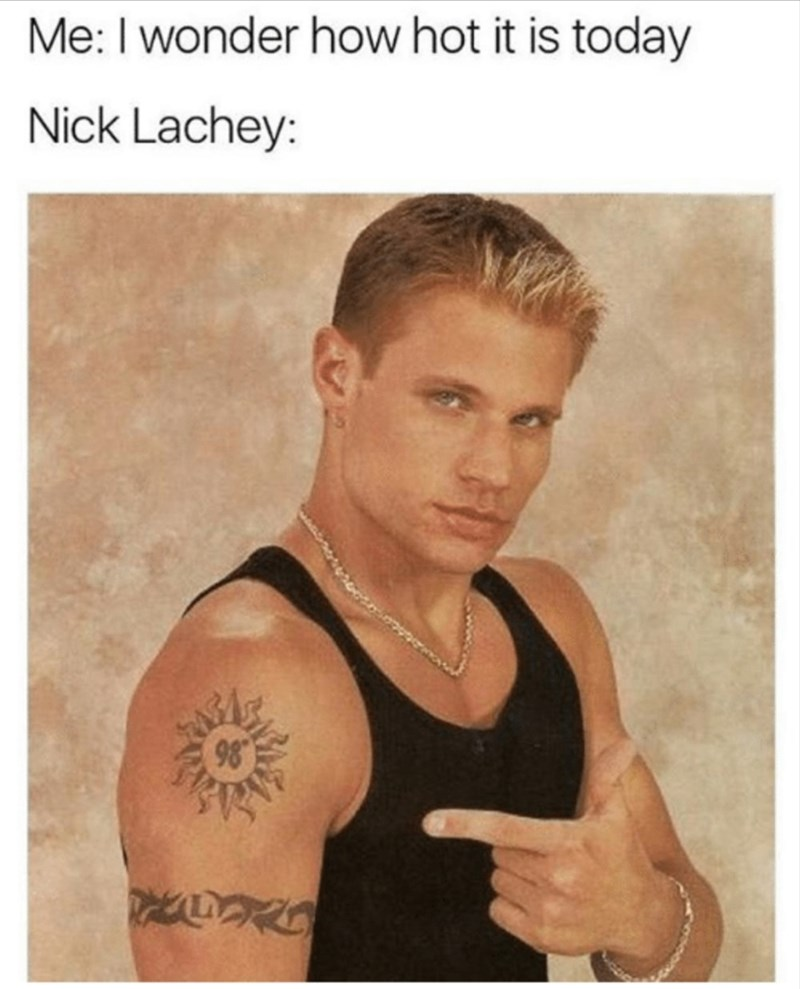 Shoulder - Me:I wonder how hot it is today Nick Lachey: 98