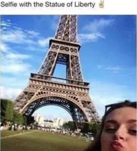 """Caption that reads, """"Selfie with the statue of liberty"""" above a photo of a girl in front of the Eiffel Tower"""