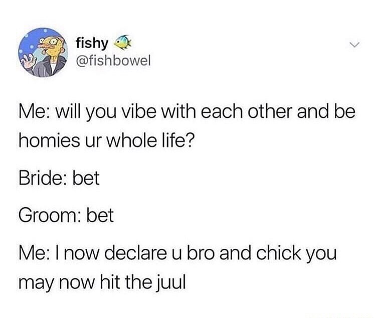 Text - fishy @fishbowel Me: will you vibe with each other and be homies ur whole life? Bride: bet Groom: bet Me: I now declare u bro and chick you may now hit the juul