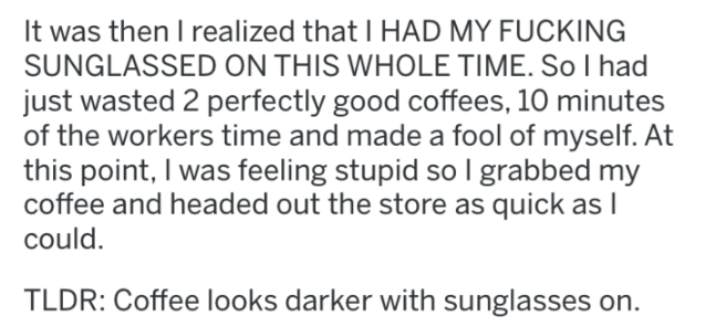 screenshot of text from reddit about coffee order fail