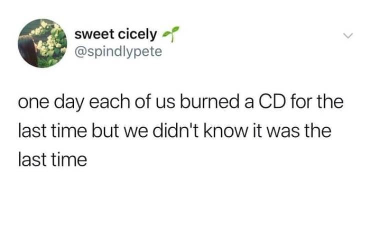 Text - sweet cicely @spindlypete one day each of us burned a CD for the last time but we didn't know it was the last time