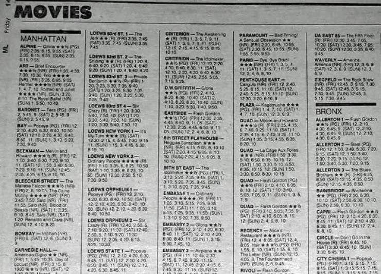 list of movie theater showing times in newspaper