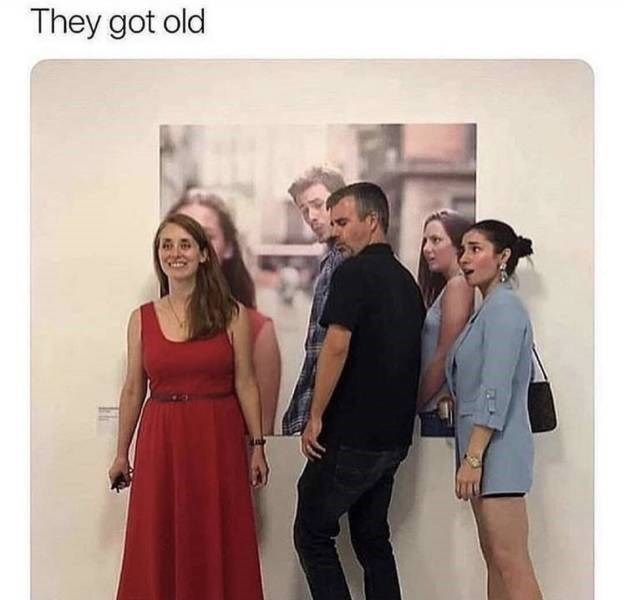 """Caption that reads, """"They got old"""" above a photo of the three characters from the 'Distracted Boyfriend' meme in real life"""