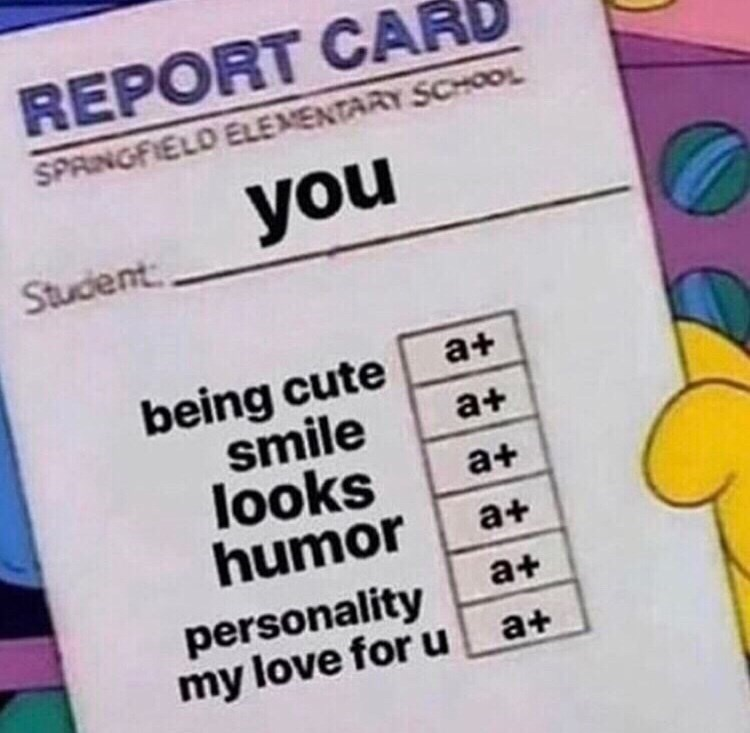 Text - REPORT CAR SPRINGFIELD ELEMENTARY SCHOOL you Student being cute smile looks humor a+ a+ a+ a+ personality my love for u a+ a+