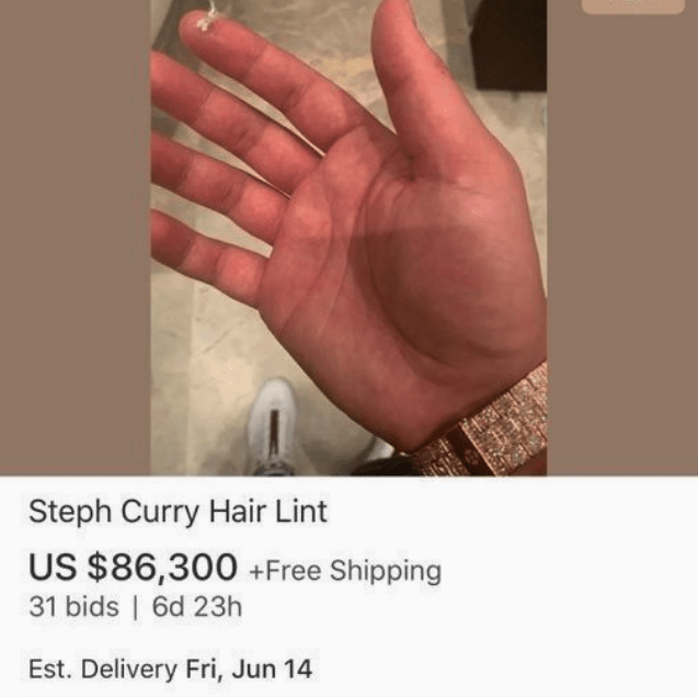 An eBay listing of Drake trying to sell Steph Curry's hair lint.