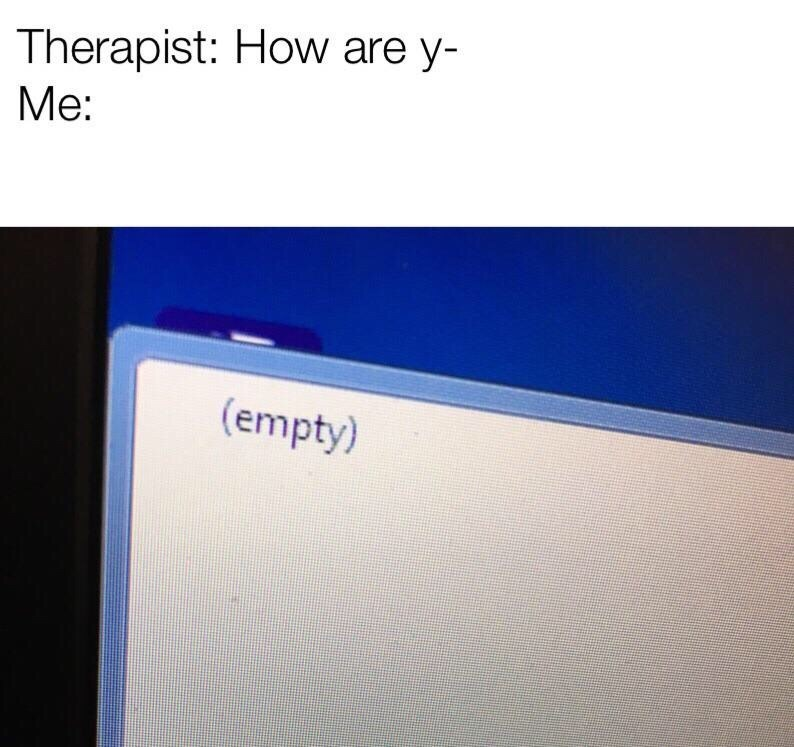 """Caption that reads, """"Therapist: How are y- Me: ..."""" above a screenshot of a computer window that says '(empty)'"""