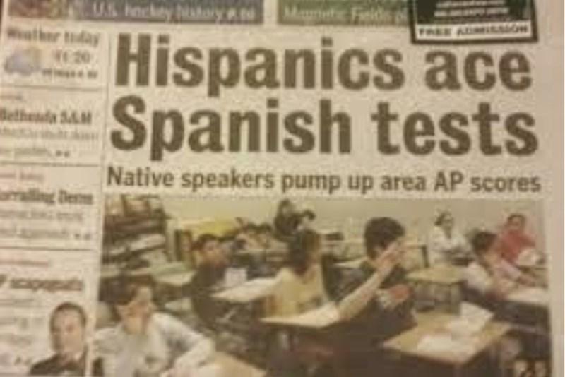 Newspaper - Maic Fields US hocky sy FREE Hispanics ace Spanish tests er tday We 20 ethenda 5&M Native speakers pump up area AP scores De