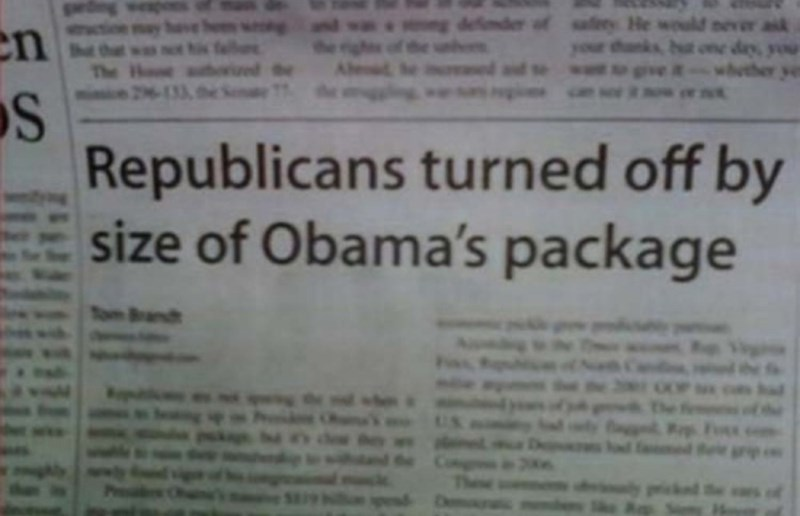 Text - aik n the The S Republicans turned off by size of Obama's package Band