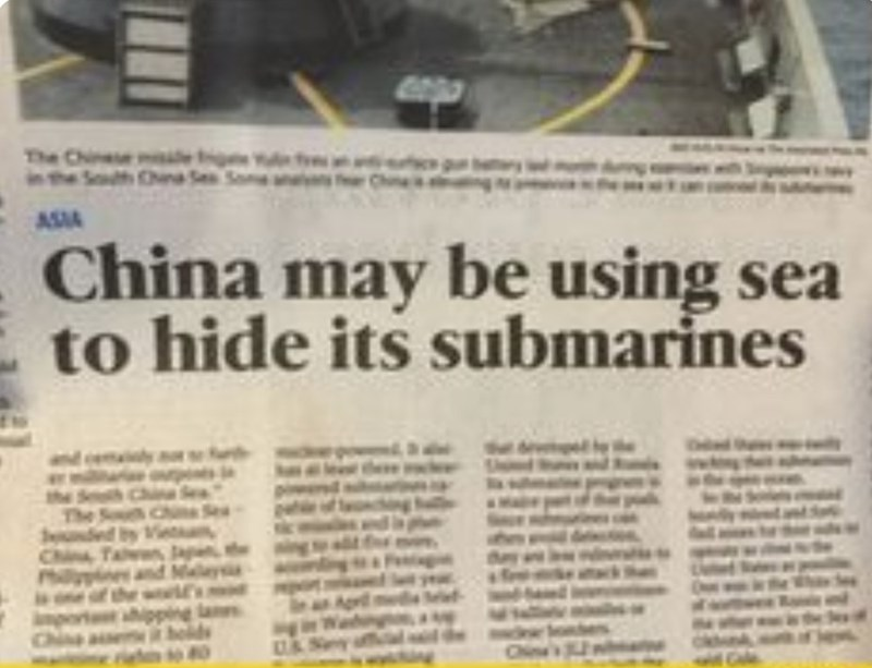 Newspaper - The Chine e in the Suth Chna Se Soan ASIA China may be using sea to hide its submarines the