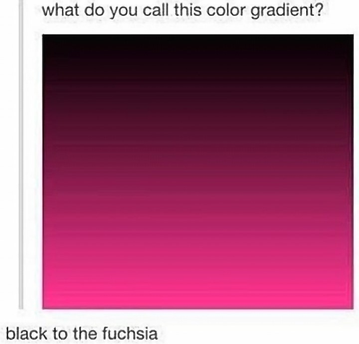 stupid posts - Text - what do you call this color gradient? black to the fuchsia