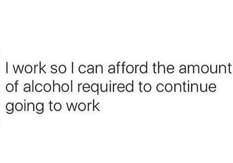 Text - I work so I can afford the amount of alcohol required to continue going to work