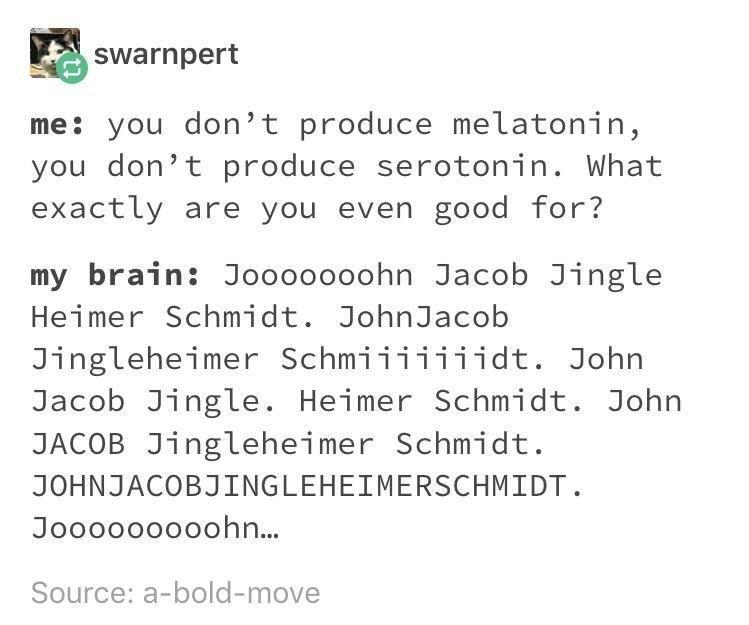 Text - Swarnpert me: you don't produce melatonin, you don't produce serotonin. What exactly are you even good for? my brain: Jooooooohn Jacob Jingle Heimer Schmidt. JohnJacob Jingleheimer Schmiiiiiiidt. John Jacob Jingle. Heimer Schmidt. John JACOB Jingleheimer Schmidt. JOHNJACOBJINGLEHEIMERSCHMIDT Jooooooooohn... Source: a-bold-move