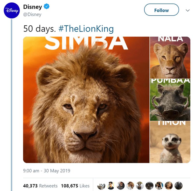 Wildlife - Disney nep Follow @Disney 50 days. #TheLionKing SIMEA NALA PUMBAA TIMON 9:00 am -30 May 2019 40,373 Retweets 108,675 Likes