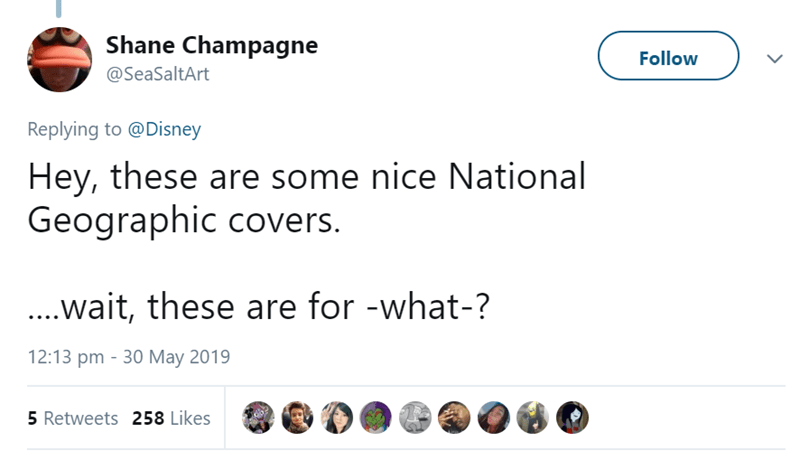 Text - Shane Champagne Follow @SeaSaltArt Replying to @Disney Hey, these are some nice National Geographic covers. ...wait, these are for -what-? 12:13 pm 30 May 2019 5 Retweets 258 Likes