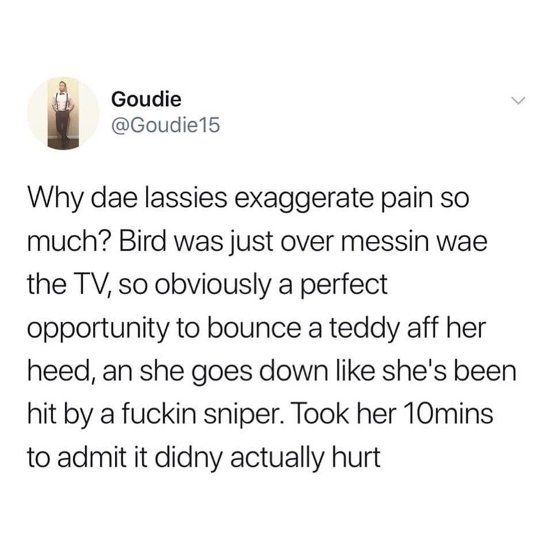 Scottish tweet - Text - Goudie @Goudie15 Why dae lassies exaggerate pain so much? Bird was just over messin wae the TV, so obviously a perfect opportunity to bounce a teddy aff her heed, an she goes down like she's been hit by a fuckin sniper. Took her 10mins to admit it didny actually hurt