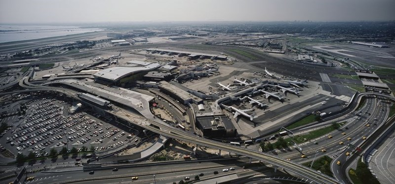 an aerial view of JFK airport from above