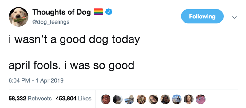 Text - Thoughts of Dog Following @dog_feelings i wasn't a good dog today april fools. i was so good 6:04 PM - 1 Apr 2019 58,332 Retweets 453,804 Likes
