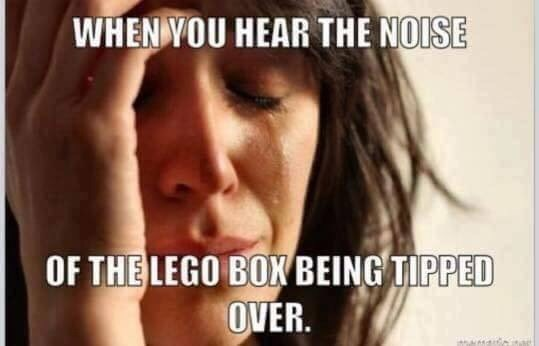 Text - WHEN YOU HEAR THE NOISE OF THE LEGO BON BEING TIPPED OVER.