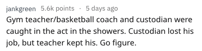 Text - jankgreen 5.6k points 5 days ago Gym teacher/basketball coach and custodian were caught in the act in the showers. Custodian lost his job, but teacher kept his. Go figure.