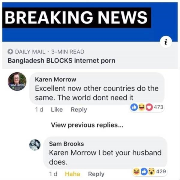 karen meme - Text - BREAKING NEWS i DAILY MAIL 3-MIN READ Bangladesh BLOCKS internet porn Karen Morrow TAM HOP Excellent now other countries do the same. The world dont need it BO473 1 d Like Reply View previous replies... Sam Brooks Karen Morrow I bet your husband does. 429 1 d Haha Reply