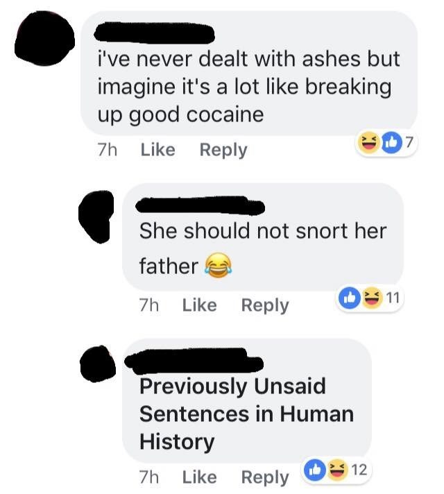 Text - i've never dealt with ashes but imagine it's a lot like breaking up good cocaine 7 7h Like Reply She should not snort her father 11 7h Like Reply Previously Unsaid Sentences in Human History Like Reply O12 7h