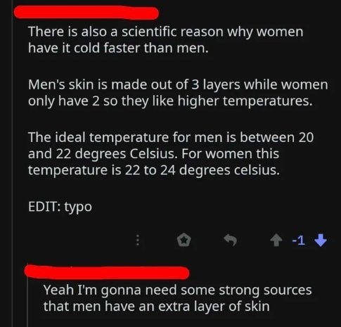 Text - There is also a scientific reason why women have it cold faster than men. Men's skin is made out of 3 layers while women only have 2 so they like higher temperatures. The ideal temperature for men is between 20 and 22 degrees Celsius. For women this temperature is 22 to 24 degrees celsius. EDIT: typo -1 Yeah I'm gonna need some strong sources that men have an extra layer of skin