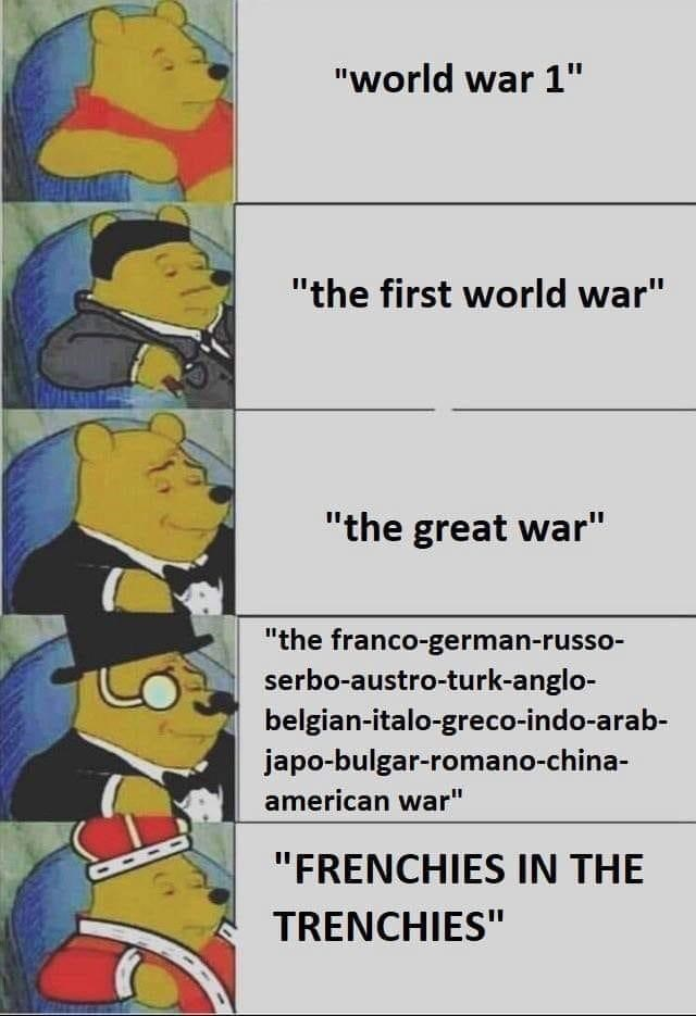 "history meme - Text - ""world war 1"" ""the first world war"" ""the great war"" ""the franco-german-russo- serbo-austro-turk-anglo- belgian-italo-greco-indo-arab- japo-bulgar-romano-chi american war"" ""FRENCHIES IN THE TRENCHIES"""