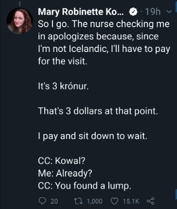 A tweet by Mary Robinette Kowel needing to pay only 3 dollars for treatment.