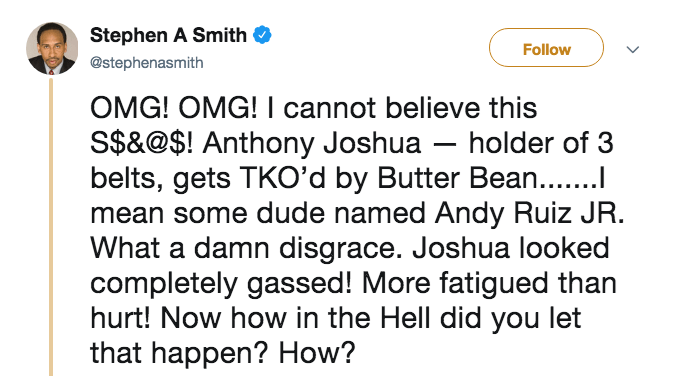 Tweet from Stephen A. Smith about the Andy Ruiz Jr. heavyweight victory over Anthony Joshua.